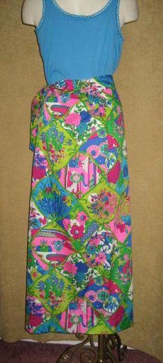 8bc047126d93 Items similar to Mod Floral Barkcloth Print Maxi Skirt 28