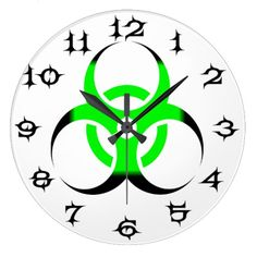 Biohazard Symbol Zombie Green and Black #s Wallclock