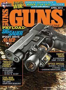 GUNS Magazine April 2014 Single Issue |    Big Bore, Big Payload |    It's Off To Pour I Go! |    The Big-Bore Flat-Tops |    Velocity Myths Vs. Facts |    A Trophy-Grade Gun |    Plus: reader favorite columns
