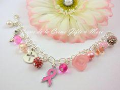 2013 Breast Cancer Awareness Charm Bracelet by CremeDeLaCremeGifts, $40.00