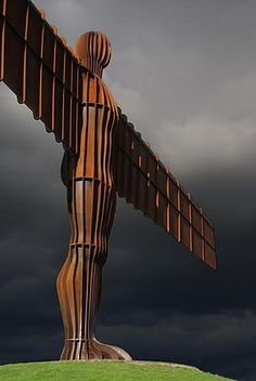 Antony Gormley- Angel of the North The Angel of the North is a contemporary sculpture, designed by Antony Gormley, which is located in Gateshead, Tyne and Wear, England. It is a steel sculpture of an angel, 20 metres tall, with wings measuring 54 metres across.
