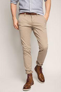 EDC / Stretch cotton chinos with a belt Smart Casual, Khaki Pants, Fashion Accessories, Trousers, Menswear, Mens Fashion, Belt, Shopping, Edc Belt