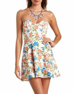 floral print strapless skater dress