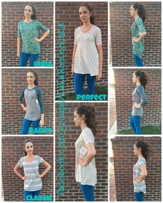 How do LuLaRoe Shirts fit?  Check out the Classic, perfect, Irma and Randy…