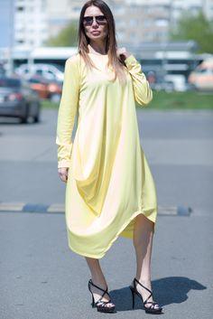 Yellow Oversize Dress, Long Sleeves Dress, Yellow Maxi Dress, Loose Cotton Tunic, Plus Sizes Dress by Eug Fashion by EUGfashion on Etsy
