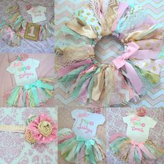 Girls First Birthday outfit Pink mint aqua gold by RockabyeJoss