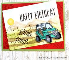 Birthday Pedal to the Medal Fun! Cindy's Stamping Studio: On Line Class Featuring – Pedal to the Metal Masculine Birthday Cards, Handmade Birthday Cards, Masculine Cards, Man Birthday Cards, Guy Birthday, Boy Cards, Kids Cards, Men's Cards, Stamping Up