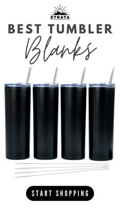BEST DEALS! Strata Cups Matte Black Stainless Steel 20 oz Skinny Tumbler Cups. Keeps drinks hotter  colder for longer. 4 pack Double Wall Tumblers comes with FREE Straw Cleaner! Travel Cup Set for Coffee, Water, Tea, Lemonade, or Smoothie 〰 Reusable Cup With Straw • Vinyl DIY Gifts  • epoxy tumbler • tumbler cups • water bottles • gift ideas • glitter tumblers • bridesmaid gifts • weddings • bridesmaid proposal • where to buy crafting blanks •    #tumblers #tumblercups #stratacups Vinyl Tumblers, Glitter Tumblers, Custom Tumblers, Water Bottle Gift, Water Bottles, Bridesmaid Proposal, Bridesmaid Gifts, Reusable Cup, Travel Cup