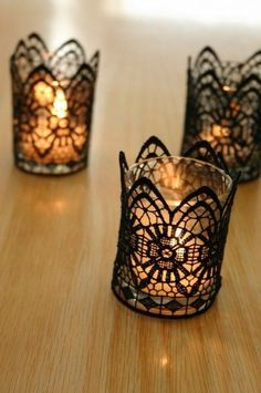 Beautiful black lace votive candle decor that will add elegance to any Halloween get together via Pretty Pretty Things!