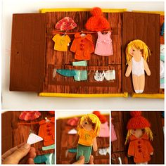 Travel dollhouse busy book with felt paper doll