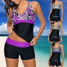 200f3742cd6f8 2018 Summer Womens Two Pieces Tankini Top with Boyshort Swimsuit Swimwear  S-5XL