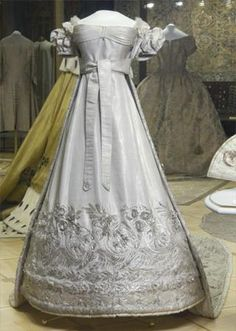 Coronation Dress of Empress Alexandra Fyodorovna   Russia   1825   silk, silver thread   Kremlin State Historical & Cultural Museums   Wife of Tsar Nicholas I; formerly Princess Charlotte of Prussia