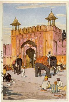 Ajmer Gate, Jaipur--Artist Hiroshi Yoshida -- the Japanese discover Tourism. This was taken in India.