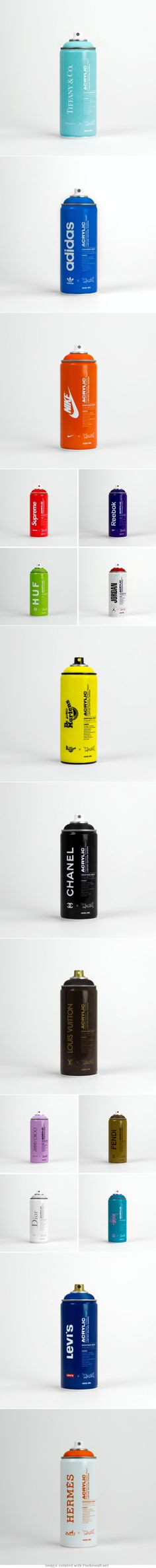 Assorted branded spray #paint #packaging PD - created via http://plentyofcolour.com/2014/01/03/branded-spray-paint/