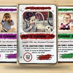 Retro Kids Birthday Invitation Card by FionaCreatiiv on Etsy, $4.00