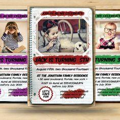 Retro Kids Birthday Invitation Card by FionaCreatiiv on Etsy, $4.00
