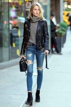 0a015a15874b Anziehen, Damenmode, Frauen Outfits, Schwarzes Leder, Mode Herbst, Outfit  Ideen,