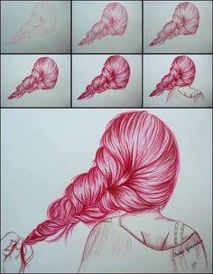 Image result for Step by Step hair drawings