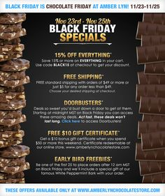 Black Friday Specials on World's Best Sugar Free Chocolate at Amber Lyn Chocolates! http://www.amberlynchocolatestore.com/Articles.asp?ID=265