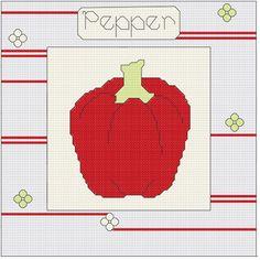 Pepper cross stitch shabby pattern vegetable