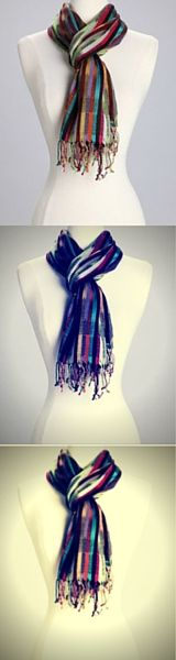 Looking to make a statement? This scarf is just for you. Great for when there is a chill in the air or you just want to add a little color to your outfit! Fringed and featuring rainbow colors this light, elegant scarf makes a great addition to any outfit.