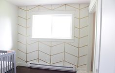 The Golden Herringbone Wall Moulding And Millwork, Diy Wall, Wall Decor, Herringbone Wall, Accent Wall Bedroom, Big Girl Rooms, Home Wallpaper, Wall Treatments, Decoration
