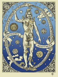 "Benjamin Vierling  ""Microcosmus Melothesia"" 2012. Benjamin Vierling, zodiacal print. Verling"