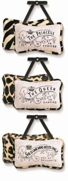 Always knock before entering a Queen's room! Our new door hanger pillows are darling, embroidered with cute saying and accented with a stylish, neutral animal-print fabric