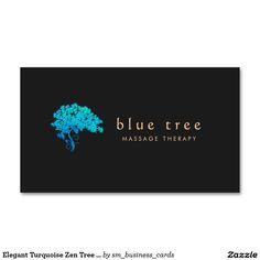 Elegant Turquoise Zen Tree Logo Black 3 Double-Sided Standard Business Cards (Pack Of 100)
