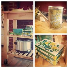 IKEA kitchen cart with cute thrifty finds.