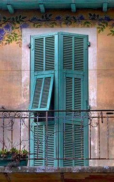 | ♕ | Shutters & Wisteria - Gorbio, Provence | by © Rita Crane