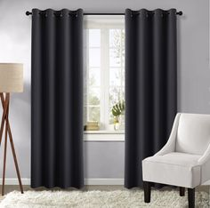 Black Curtains Window For Living Room - (Black Color) 52 by 84 inches, 1 Pair, Function Home Decoration Thermal Insulated Grommet Blackout Drapes by NICETOWN >>> Find out more about the great product at the image link. (This is an affiliate link) #WindowTreatments