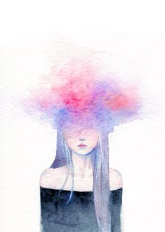Overthinking by dreamelancholia on DeviantArt Cool Art Drawings, Art Sketches, Moon Art, Aesthetic Art, Cartoon Art, Cute Art, Art Inspo, Art Sketchbook, Watercolor Paintings