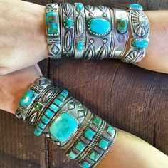 Arizona native, Jock Favour creates these beautiful old-style turquoise and silver cuff bracelets. http://www.garlandsjewelry.com/artists/jock-favour