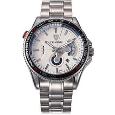 Tevise 796A Men Automatic Mechanical Watch Date Round Dial Stainless Steel Body