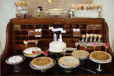 Pie Bar Dessert Bar At Your Wedding - Alexan Events Pie Bar Wedding, Wedding Cakes, Wedding Ideas, Wedding Fun, Wedding Stuff, Traditional Wedding Cake, Traditional Cakes, Dessert Bars, Dessert Table