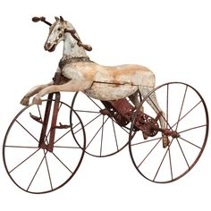 19th Century Wooden Horse Tricycle | From a unique collection of antique and modern toys at https://www.1stdibs.com/furniture/folk-art/toys/