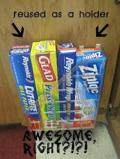 29 Insanely Easy DIY Ideas To Improve Your Kitchen Interior - Keep thin boxes in a magazine rack.