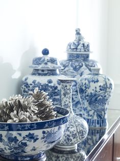 accessories, love the new ethan allen silver pine cones
