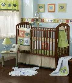 Amazon.com: Sumersault Fun Faces Crib Set 4 Piece - Blue: Baby