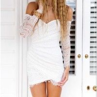 Woman White Lace off Shoulder Full Sleeve Party Dress... I must have!!