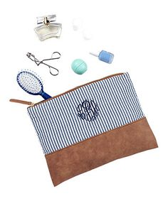 Blue Stripe Seersucker Monogram Cosmetic Bag
