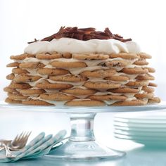The cake starts out sturdy but softens overnight in the fridge. At that point, it can be sliced into pieces like a traditional cake.