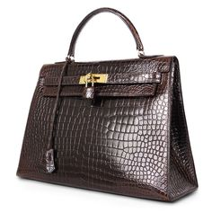 Hermes Sellier32 Crocodile Kelly Bag Gold Hardware Vintage