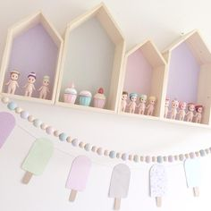 House shelves, Sonny Angels, bead garland and popsicle garland