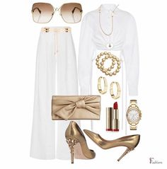 White Outfits, Cute Casual Outfits, Casual Chic, Stylish Outfits, Outfit Look, Royal Clothing, Fashion Details, Fashion Design, Polyvore Outfits