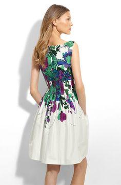 Eliza J Pleated Stretch Cotton Dress | Nordstrom