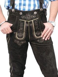 Herren Trachten Kniebund Lederhose, inkl. H-Träger, altbraun, Pants, Fashion, Suede Fabric, Oktoberfest, Get Tan, Trousers, Trouser Pants, Moda, Fashion Styles