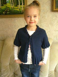 2Мои работы девочкам: кофты, свитера, туники, платья, комплекты Синяя безрукавка
