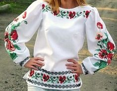 Ukrainian Beaded Blouse / Beaded Embroidery / Seed Beads/ Beading / Handmade Bead Embroidered Top / Wild Poppies - XS, S, M, L, XL, 2-4XL